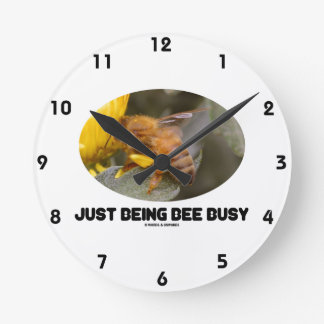 Just Being Bee Busy (Bee On Yellow Flower) Round Clock