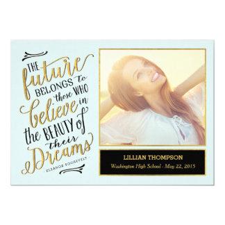 "Just Believe Graduation Announcement Invitation 5"" X 7"" Invitation Card"
