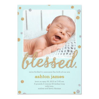 Just Blessed Birth Announcement - Blue Invites