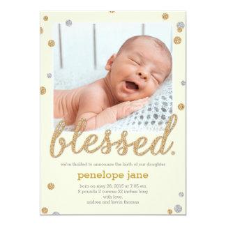 Just Blessed Birth Announcement - Cream