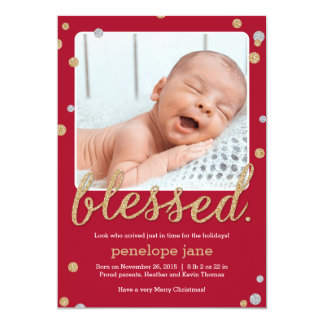 Just Blessed Birth Announcement Holiday Card