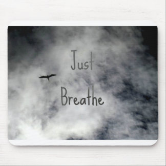 Just Breathe Bird Flying in Cloudy Sky Mouse Pad