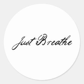 just breathe classic round sticker