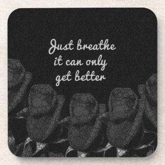 Just Breathe Flower Design Beverage Coaster