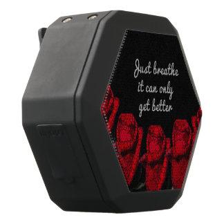 Just Breathe Flower Design Black Bluetooth Speaker