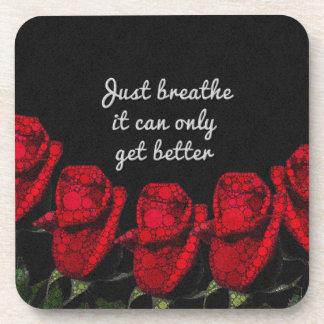Just Breathe Flower Design Coaster