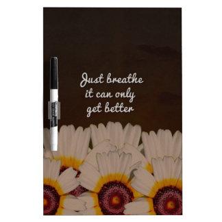 Just Breathe Flower Design Dry-Erase Board