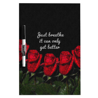 Just Breathe Flower Design Dry Erase Board