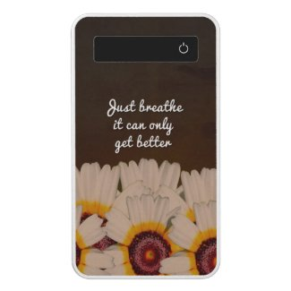 Just Breathe Flower Design Power Bank