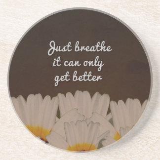 Just Breathe Flower Design Sandstone Coaster