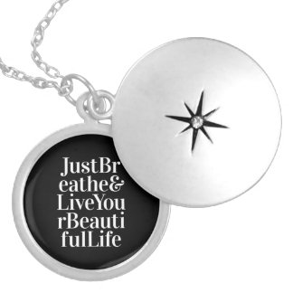 Just Breathe Inspirational Sayings Black White Silver Plated Necklace