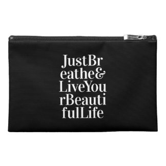 Just Breathe Inspirational Sayings Black White Travel Accessory Bag