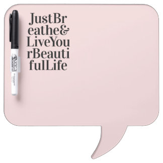 Just Breathe Modern Quote Pink Gifts Dry-Erase Board