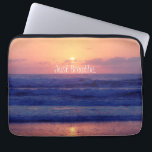 "Just Breathe Ocean Sunset Laptop Sleeve<br><div class=""desc"">Just Breathe. Beach Ocean Sunset gifts. Beautiful orange sunset over the ocean,  featuring the simple inspirational thought quote,  &quot;Just breathe.&quot; See more at our store,  &quot;Motivate Me&quot;. Link below:</div>"