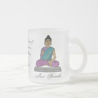 Just Breathe (Personalized Frosted Glass Mug) 10 Oz Frosted Glass Coffee Mug
