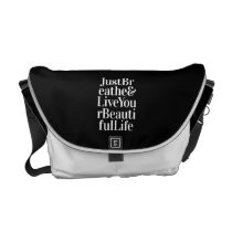 Just Breathe Positive Quotes Black White Type Courier Bag