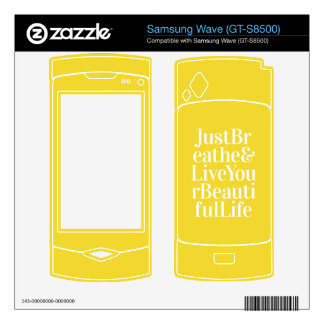 Just Breathe Positive Quotes Bright Yellow Samsung Wave Skin