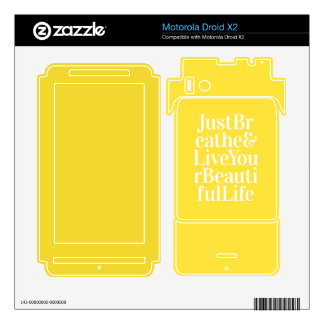 Just Breathe Positive Quotes Bright Yellow Motorola Droid X2 Decals
