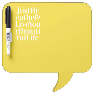 Just Breathe Positive Words Quote Bright Yellow Dry Erase Board