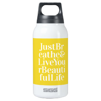 Just Breathe Positivity Inspiring Quote Yellow Insulated Water Bottle