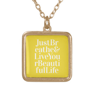 Just Breathe Positivity Inspiring Quote Yellow Pendant