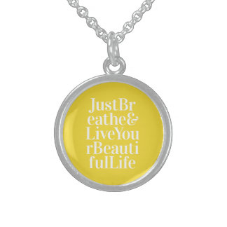 Just Breathe Positivity Inspiring Quote Yellow Sterling Silver Necklace