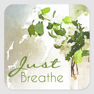 Just Breathe Square Stickers