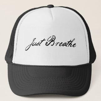 just breathe trucker hat