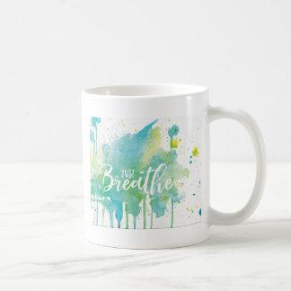 Just Breathe Watercolor blue green Coffee Mug
