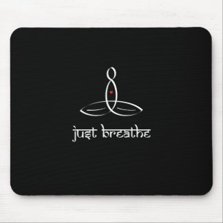 Just Breathe - White Sanskrit style Mouse Pad