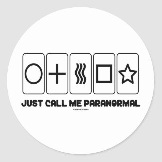 Just Call Me Paranormal (Zener Cards) Classic Round Sticker