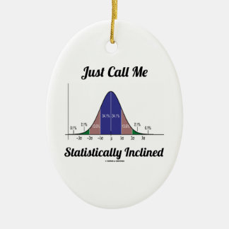 Just Call Me Statistically Inclined (Bell Curve) Ceramic Ornament