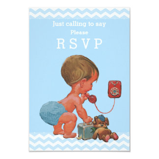 Just Calling to Say Please RSVP Baby Boy Chevrons Card