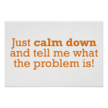 Just calm down and tell me what the problem is! poster