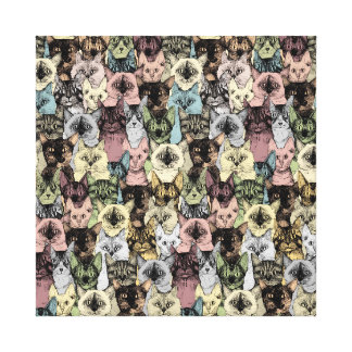just cats retro gallery wrapped canvas
