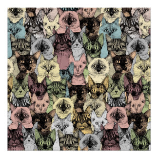 just cats retro poster