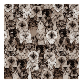 just cats sepia poster