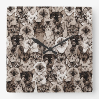 just cats sepia wallclocks