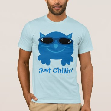 Beach Themed Just Chillin' Blue Cat With Sunglasses T-Shirt