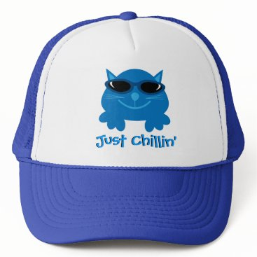 Beach Themed Just Chillin' Blue Cat With Sunglasses Trucker Hat