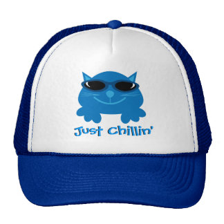 Just Chillin' Blue Cat With Sunglasses Trucker Hat