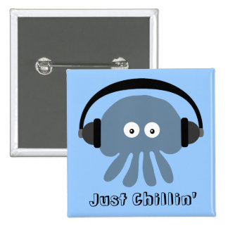 Just Chillin' Blue Jellyfish With Headphones Button