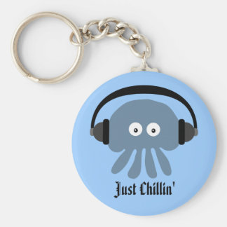 Just Chillin' Blue Jellyfish With Headphones Keychain