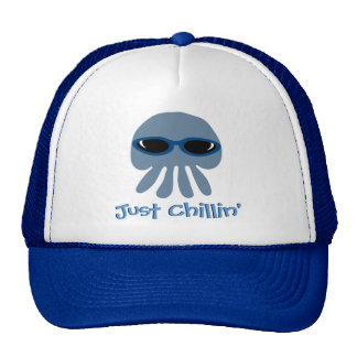 Just Chillin' Blue Jellyfish With Sunglasses Trucker Hat