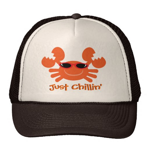 Just Chillin' Crab With Sunglasses Trucker Hats