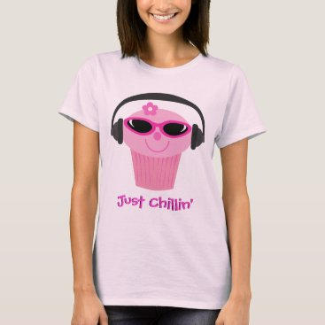 Beach Themed Just Chillin' Cupcake With Headphones & Shades T-Shirt