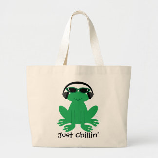 Just Chillin' Frog With Headphones & Shades Large Tote Bag