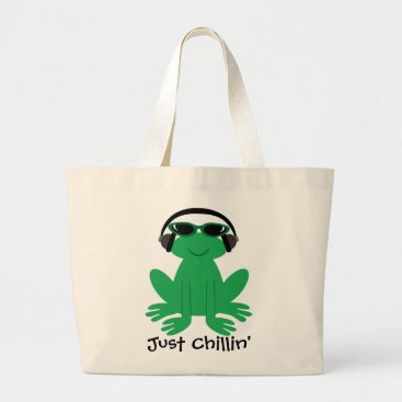 Beach Themed Just Chillin' Frog With Headphones & Shades Large Tote Bag
