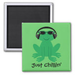 Just Chillin Frog With Headphones & Shades Fridge Magnet