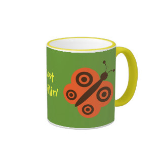 Just Chillin Funky Retro Butterflies Coffee Mugs